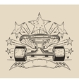 It is a of skateboard with stars vector image