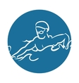 man silhouette swimmer athlete vector image