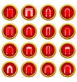 arch set icon red circle set vector image