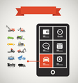 Modern mobile phone with transport silhouettes vector image