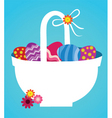 Easter eggs and basket vector image