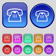 retro telephone handset icon sign A set of twelve vector image