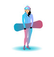 a woman with a snowboard vector image