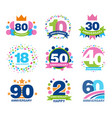 anniversary birthdays festive signs set ubilee vector image