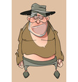 Cartoon sad homeless man in tattered clothes vector image