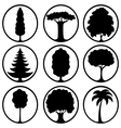 Icons of different trees vector image