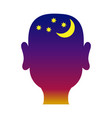 mans head outline with night background vector image