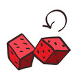 red dice icon with a black outline on a white vector image