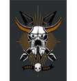 rock music poster with bull skull microphone and vector image