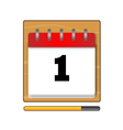 The first day in the calendar vector image