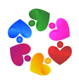 Teamwork handle hearts logo vector image