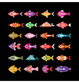 fish icons on black vector image vector image