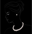 Woman with pearl jewelry vector image