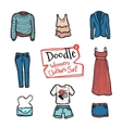 doodle women clothes icons set Hand drawn vector image