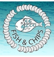 Fish and Chips on aquamarine background vector image