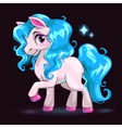 Little cute white cartoon horse vector image
