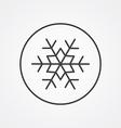 Snowflake outline symbol dark on white background vector image