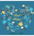 Blue and yellow floral heart with text Best wishes vector image