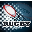 rugby ball flying with bakcground blue design vector image