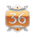 Thirty six years anniversary celebration silver vector image