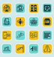 set of 16 travel icons includes escalator down vector image