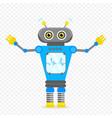 blue cheerful cartoon robot character vector image