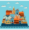 Town background design with cute colorful sticker vector image vector image