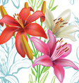 Seamless floral pattern with lilies on white vector image