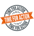 time for action round orange grungy vintage vector image