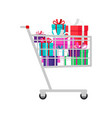 shopping cart with presents vector image