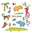Tropical animals sketch vector image