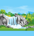 Cartoon waterfall landscape background vector image
