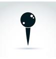 black pin icon simple tack sign monochrome vector image