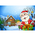 a house a santa claus and a reindeer vector image