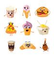 funny cartoon fast food set vector image vector image