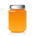 glass jar for honey jam jelly or baby food puree vector image