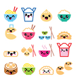 Kawaii Chinese take away food characters vector image