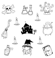 Castle and witch element halloween doodle vector image