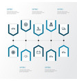 Automobile outline icons set collection of rudder vector image