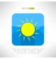 Bright yellow sun icon in modern flat design Nice vector image