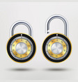 combination padlock realistic metal vector image