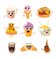 funny cartoon fast food set vector image