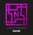 letter n symbol in colorful square maze vector image