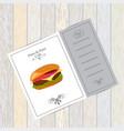 menu for fast food hamburger on wooden background vector image
