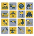 Metal working tools icon set Thin line design vector image