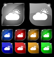 Partly Cloudy icon sign Set of ten colorful vector image