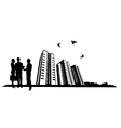people and building site vector image