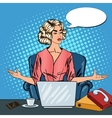 Pop Art Stressed Business Woman with Laptop vector image