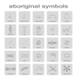 set of monochrome icons with symbols of Australian vector image