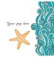 Background waves and starfish maritime pattern vector image